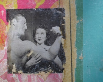Original Collage Retro Couple Turquoise Pink Beefcake Ooooh La La