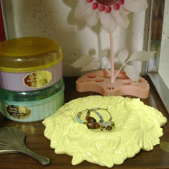 Yellow Floral Ceramic Trinket Dish Revamped