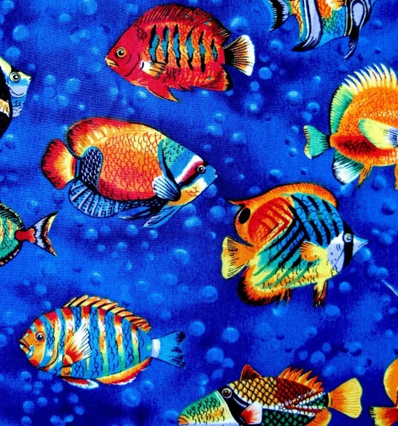 Items similar to tropical fish fabric new cotton 1 for Fish fabric by the yard