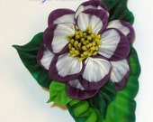 Hand Sculpted Enchanting Purple and White Blossom with Variegated leaves and Vine
