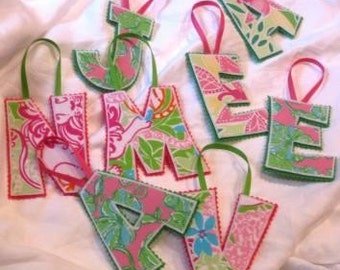 3 Lilly Pulitzer Letter Ornament DEAL