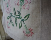 Vintage Linen Runner Scarf Hand Embroidered Flowers from EnglishPreserves
