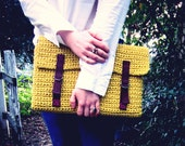 Laptop Sleeve -  Bag  - Case - Cover - Portfolio - Buckle - Mustard Citron Yellow - Brown Straps - Crochet - Softspoken - VEGAN