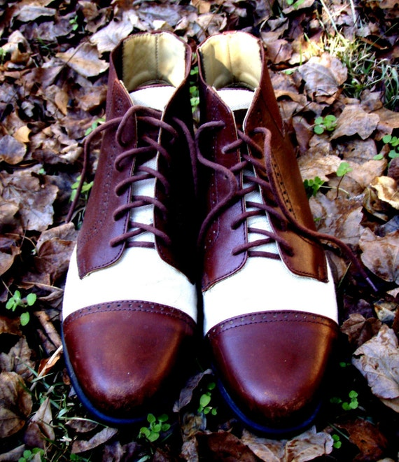 Vintage Brown and Cream Ankle Oxford Ankle Boots - Size 8