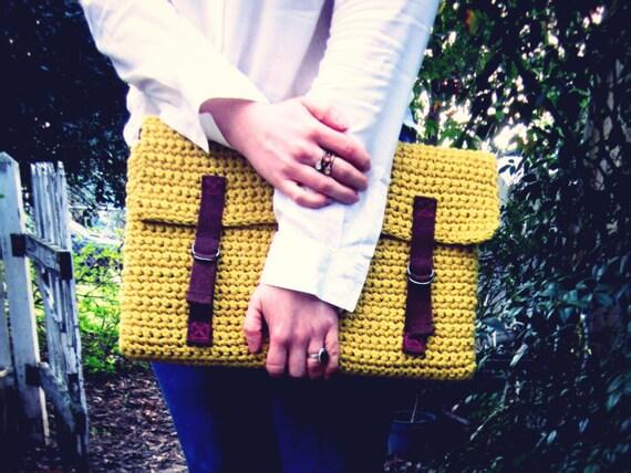 Laptop Sleeve -  Bag  - Case - Cover - Portfolio - Buckle - Mustard Citron Yellow - Brown Straps - Crochet - Softspoken - VEGAN