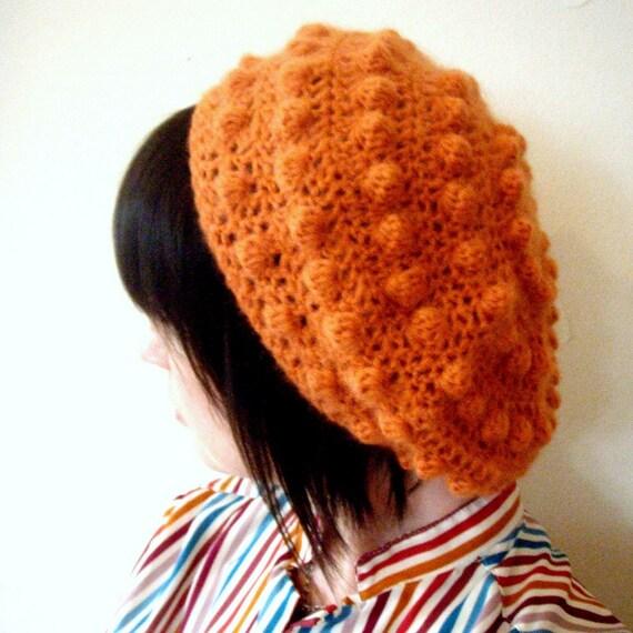 Softspoken Crochet Lux Bubble Beret in Pumpkin