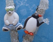 Polar Bear and Penguin Beaded Hair Clip