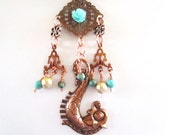 Copper Sea Horse Necklace with Turquoise Beads-OOAK