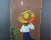 Vintage  Patriotic Lady - Hand Painted on Wood