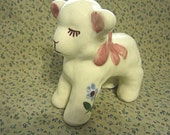 Vintage Ceramic Lamb Figurine - Hand Painted 1940