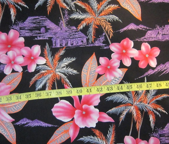 Alexander Henry Hawiian Fabric - Bright Pink & Black - Price per yard