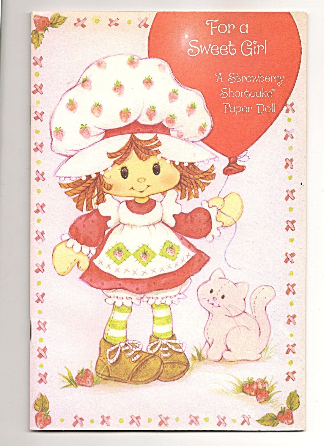 Vintage Strawberry Shortcake Birthday Paper Doll Card By