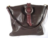 Soft Brown Leather purse made from the top of a pair of recycled ladies boots