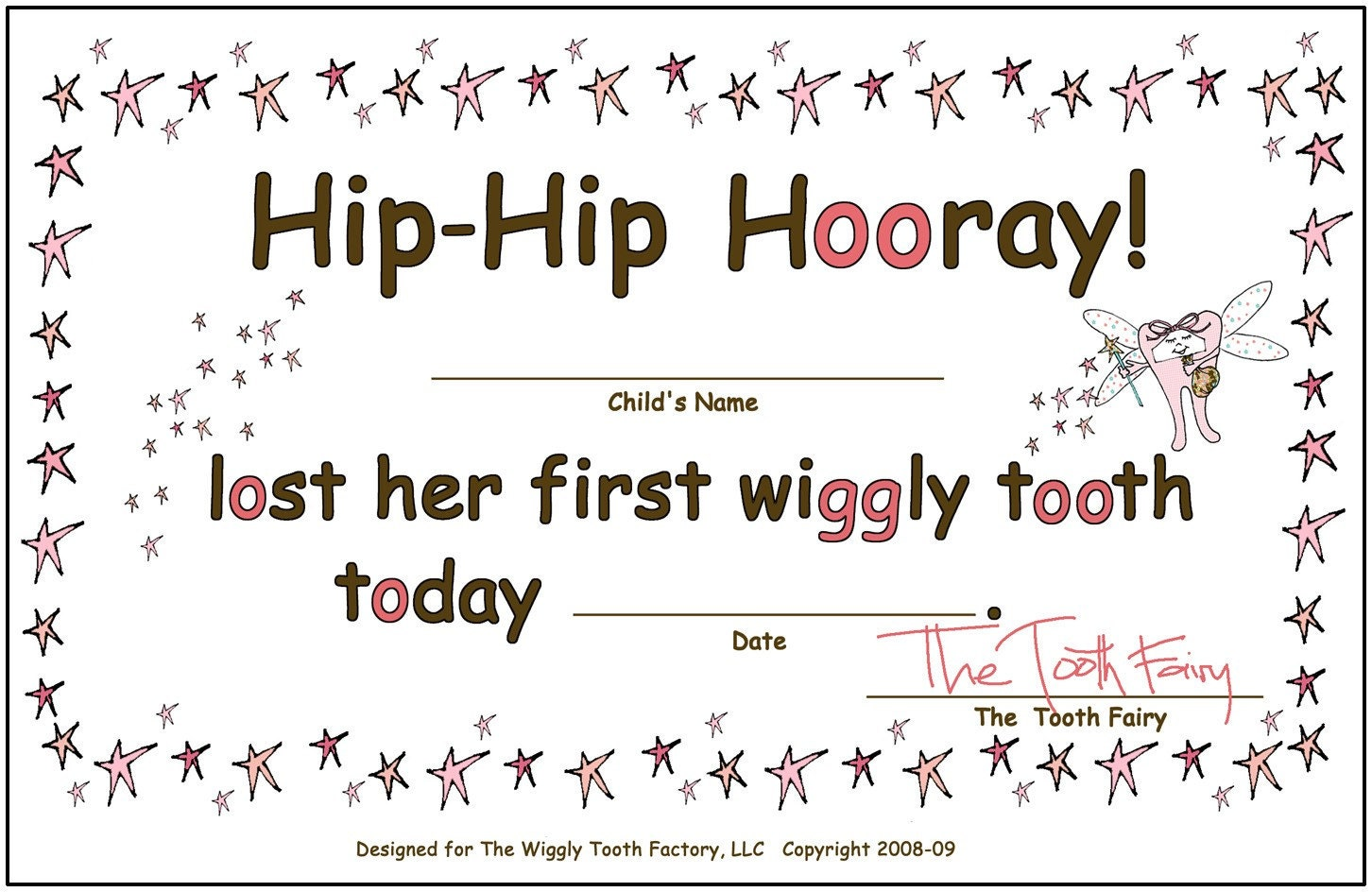 Girl or Boy Tooth Fairy Certificate by WigglyToothFactory on Etsy