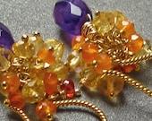Fall 2011 petite gold gemstone clusters Citrine, Amethyst