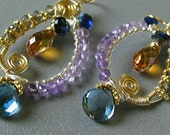 Silver and Gold wire wrapped Gem cobalt Kyanite, mystic blue Topaz, Amethyst HoopS SALE