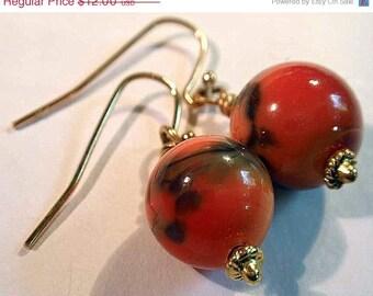 On Sale Now Glass Bead Earrings - Simple Rusty Orange