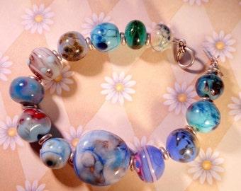 Bright Blue Glass Bead Bracelet