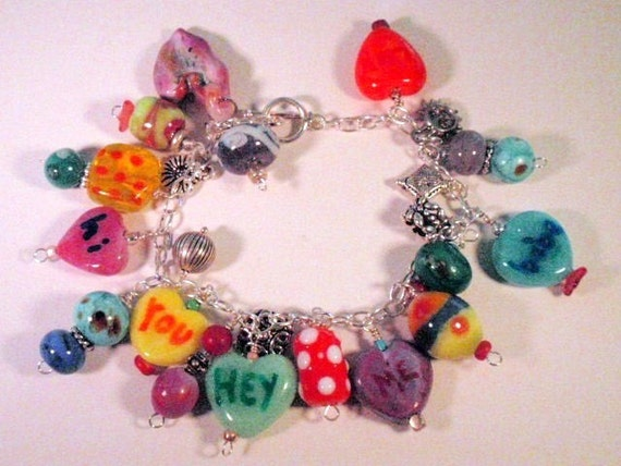 GLASS  BEAD HEARTS With Silver Charms Bracelet
