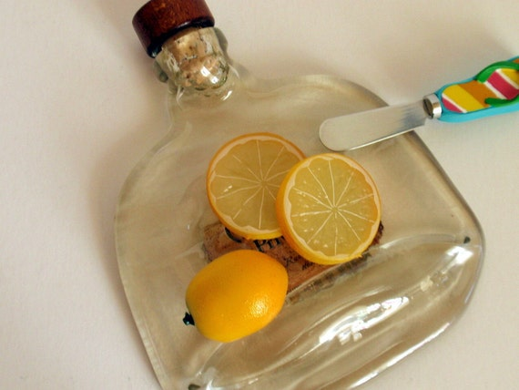Recycled Slumped Glass Bottle Serving Dish
