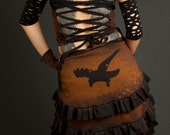 Ruffle Crow Raven Bustle Wrap Skirt Post Apocalyptic Stained Destroyed