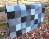Contemporary Baby Crib Quilt from Recycled Denim