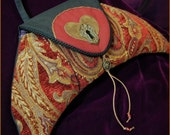 Key To Your Heart Crescent Moon Bohemian Gypsy Tapestry Keyhole Shoulder Art Bag