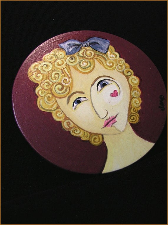 ONE-OF-A-KIND Hand Painted Jewel Tone Steampunk Victorian Face Hardwood Pocket Mirror