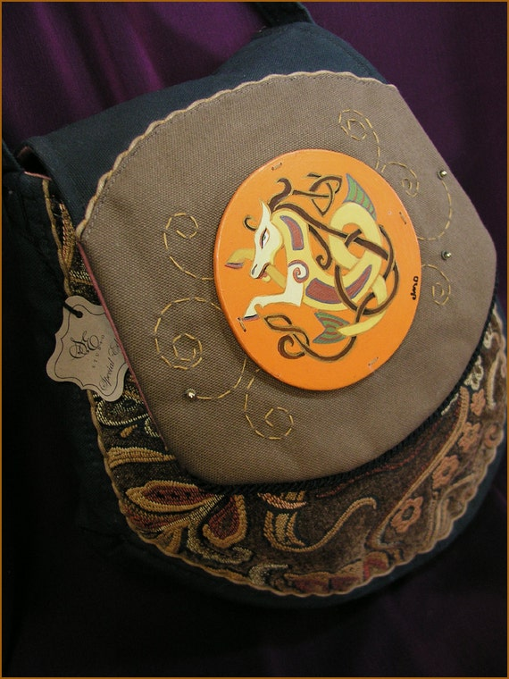 Special Edition Hand painted Celtic Knot Horse Painting Wearable Art Messanger Bag Shoulder Purse