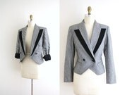 Houndstooth Blazer . 1980s Jacket . One Button . Black and White