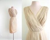 Nude Chiffon Party Dress . Lilli Diamond . Small