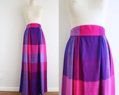 Psychedelic Plaid Maxi Skirt . 1970's . Ombre Purple Pink