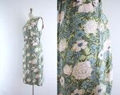 Vintage Garden Dress . Tea Party . Pale Pastels . 1960s 60s . Linen . Large