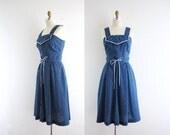 Vintage Blue Polka Dot Dress . 70s Sundress . Corner Diner . Small