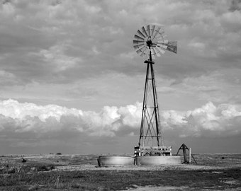 Clouds Photo Print, Storm Clouds, Moody Storm Clouds, Windmill Photo, Nebraska Art, Nebraska Photo,