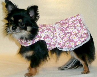 Dog Clothes Pink Daisy Dress, Chihuahua, Yorkie