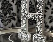 Black and White Damask Monogram Letter with Swarovski crystals