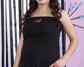 Edgy Skull and Roses Strapless Maternity top from MamaSan Maternity Apparel