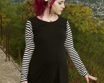 Maternity Chic Striped Top Alternative Rockabilly PinUp Gothic from MamaSan Maternity Apparel