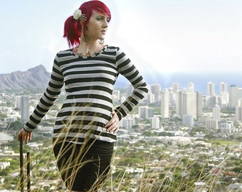 Pirate Punk Grey and Black striped Alternative and Edgy maternity shirt from MamaSan Maternity Apparel