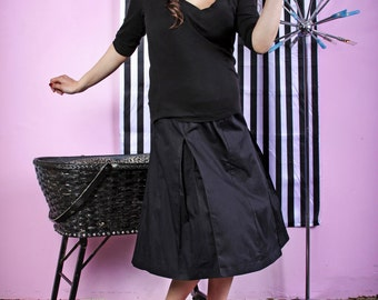 Black Pleated Maternity Skirt for Pinup Girls and Rockabilly Gals by MamaSan Maternity Apparel