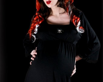 Large Maternity Top - Alternative Rockabilly Goth Skulls Maternity Tunic Top