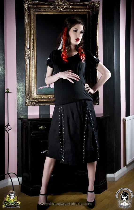 Maternity Skirt  Goth Punk Rockabilly Black Grommet from MamaSan Maternity Apparel