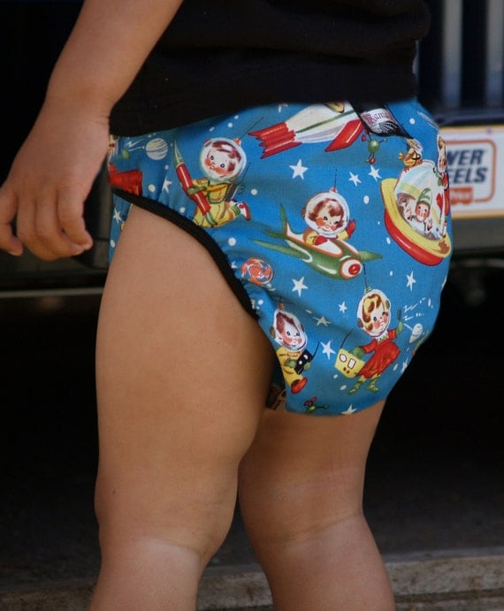 Diaper Cover Retro Rocket Space Boy vintage style from MamaSan and Miso Punk baby shower gift