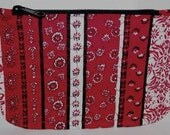 SALE - Quilted Accessory Bag \/ Zippered Pouch, red paisley with flowers