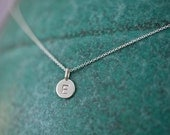 ONE Charm Tiny Initial Necklace in Sterling Silver, Monogrammed Necklace, Baby's Initial Necklace