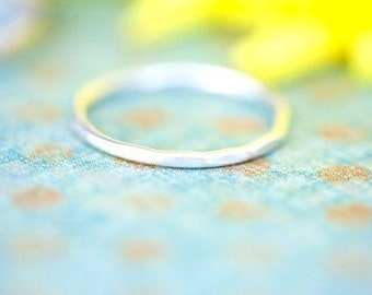 Single Sandblasted Stacking Ring - Sterling Silver