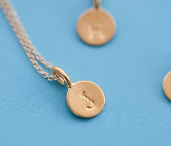 14k Gold Vermeil Initial Necklace, Original Tiny Initial Necklace, Small Monogram Gift Pendant, Mom's Disc Necklace