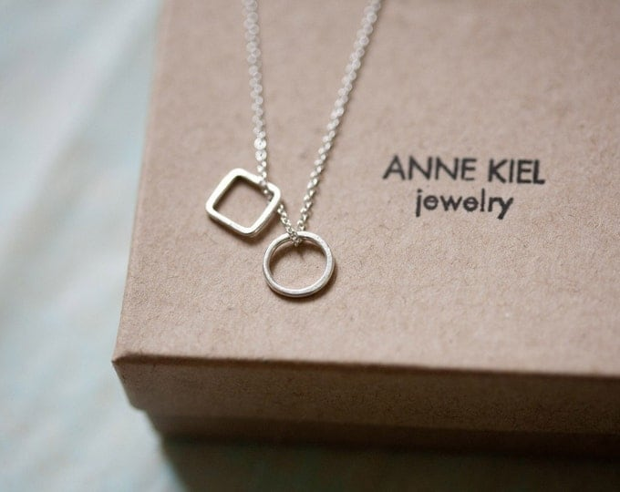 Modern Geometric Necklace - Featherweight Necklace in Sterling Silver - Petite Shapes Necklace