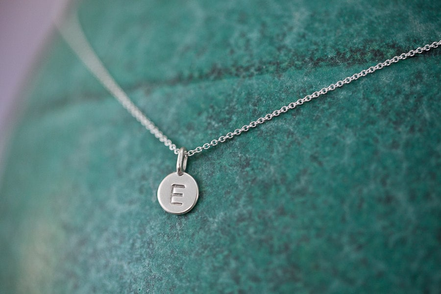 one charm tiny initial necklace in sterling silver